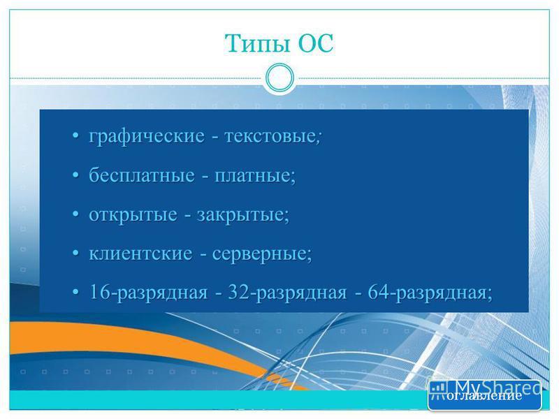 Типы ОС графические - текстовые;графические - текстовые; бесплатные - платные;бесплатные - платные; открытые - закрытые;открытые - закрытые; клиентские - серверные;клиентские - серверные; 16-разрядная - 32-разрядная - 64-разрядная;16-разрядная - 32-р