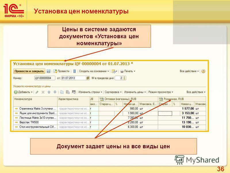 36 Установка цен номенклатуры Цены в системе задаются документов «Установка цен номенклатуры» Документ задает цены на все виды цен