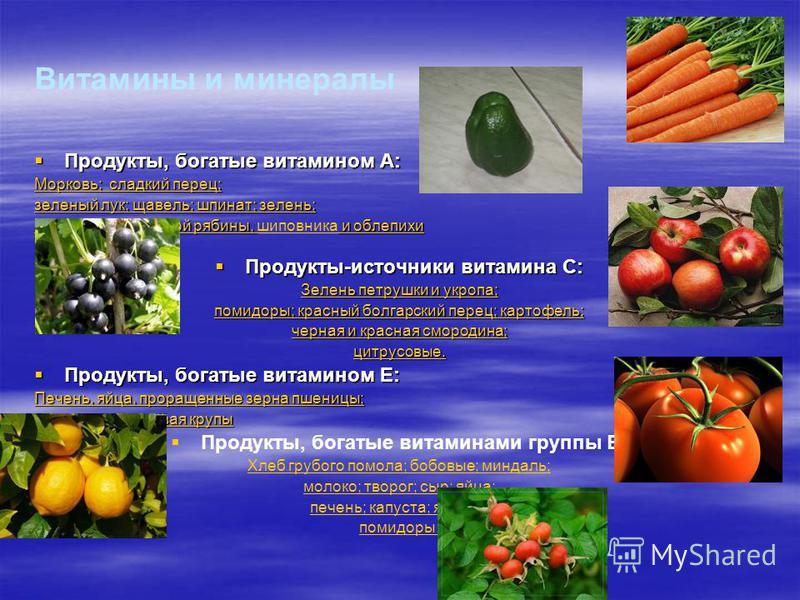 Витамины и минералы Продукты, богатые витамином А: Продукты, богатые витамином А: Морковь; сладкий перец; зеленый лук; щавель; шпинат; зелень; плоды черноплодной рябины, и облепихи плоды черноплодной рябины, шиповника и облепихи Продукты-источники ви