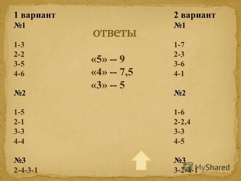 1 вариант 1 1-3 2-2 3-5 4-6 2 1-5 2-1 3-3 4-4 3 2-4-3-1 2 вариант 1 1-7 2-3 3-6 4-1 2 1-6 2-2,4 3-3 4-5 3 3-2-4-1 «5» -- 9 «4» -- 7,5 «3» -- 5