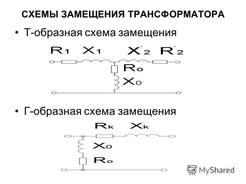 СХЕМЫ ЗАМЕЩЕНИЯ ТРАНСФОРМАТОРА Т-образная схема замещения Г-образная схема замещения