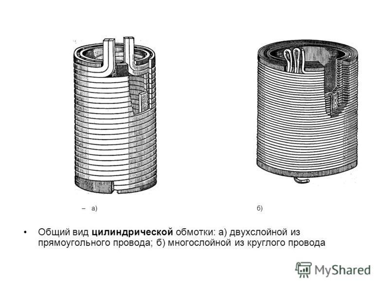 –а) б) Общий вид цилиндрической обмотки: а) двухслойной из прямоугольного провода; б) многослойной из круглого провода
