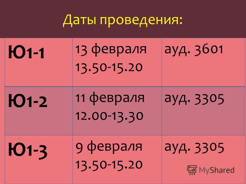 Даты проведения: Ю1-1 13 февраля 13.50-15.20 ауд. 3601 Ю1-2 11 февраля 12.00-13.30 ауд. 3305 Ю1-3 9 февраля 13.50-15.20 ауд. 3305