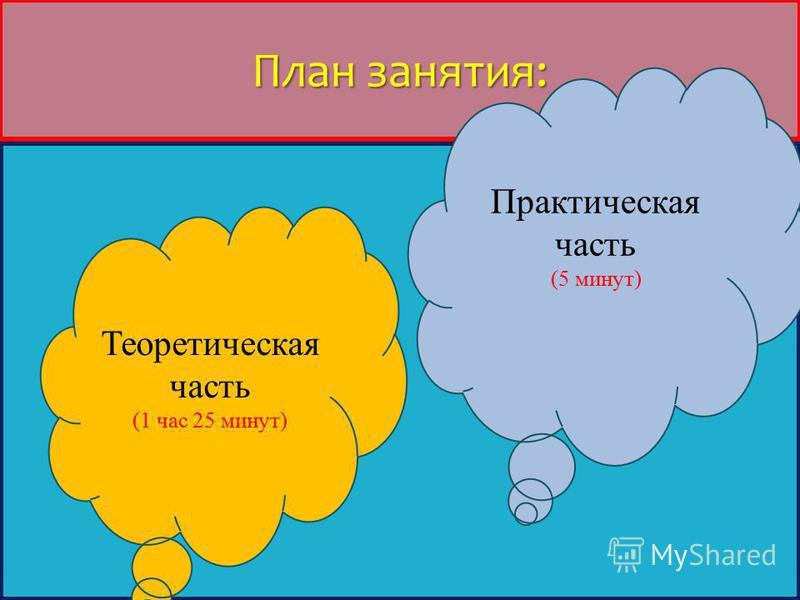 План занятия: Теоретическая часть (1 час 25 минут) Практическая часть (5 минут)
