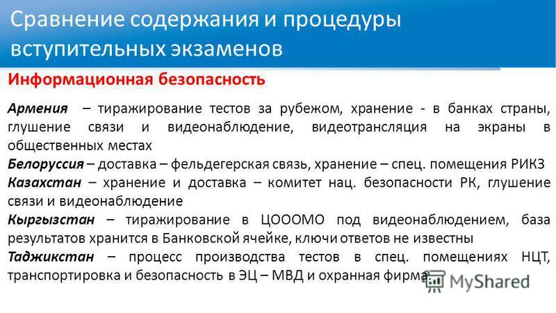 Сравнение содержания и процедуры вступительных экзаменов Информационная безопасность Армения – тиражирование тестов за рубежом, хранение - в банках страны, глушение связи и видеонаблюдение, видео трансляция на экраны в общественных местах Белоруссия