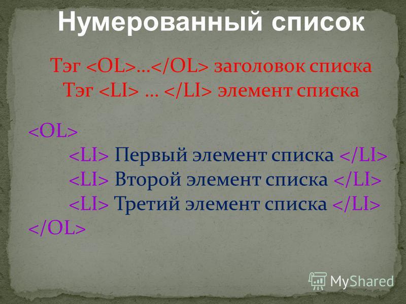 Нумерованный список Тэг … заголовок списка Тэг … элемент списка Первый элемент списка Второй элемент списка Третий элемент списка