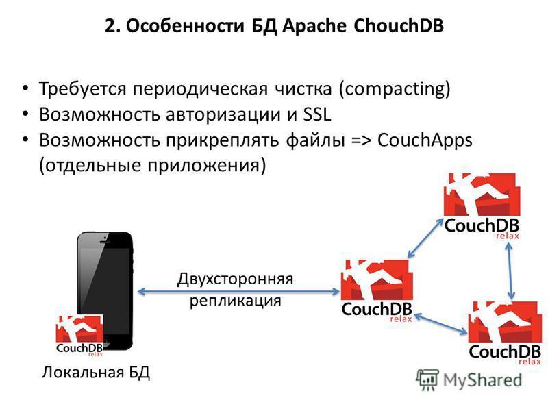 Требуется периодическая чистка (compacting) Возможность авторизации и SSL Возможность прикреплять файлы => CouchApps (отдельные приложения) 2. Особенности БД Apache ChouchDB Локальная БД Двухсторонняя репликация