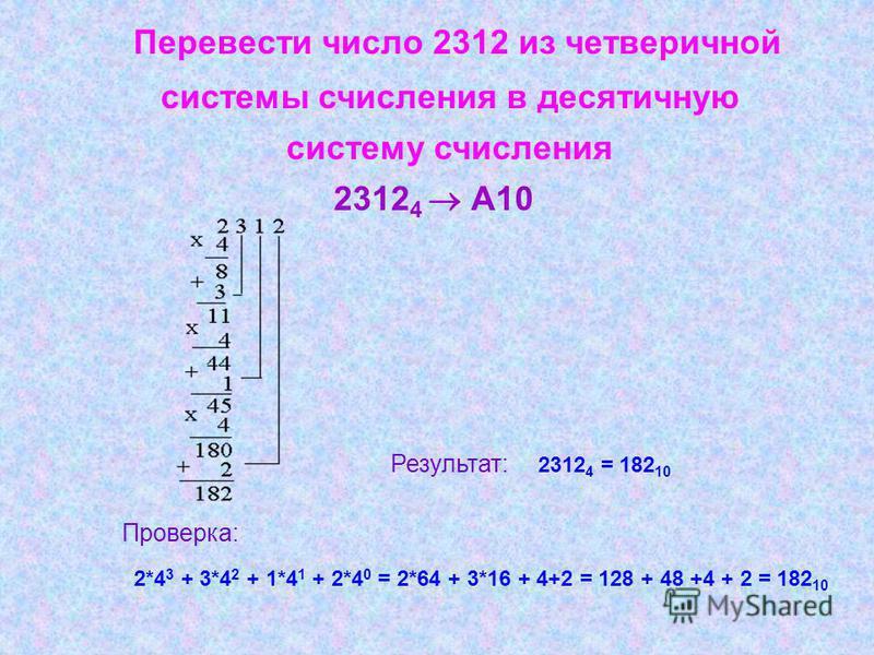 Перевести число 2312 из четверичной системы счисления в десятичную систему счисления 2312 4 А10 Результат: 2312 4 = 182 10 Проверка: 2*4 3 + 3*4 2 + 1*4 1 + 2*4 0 = 2*64 + 3*16 + 4+2 = 128 + 48 +4 + 2 = 182 10