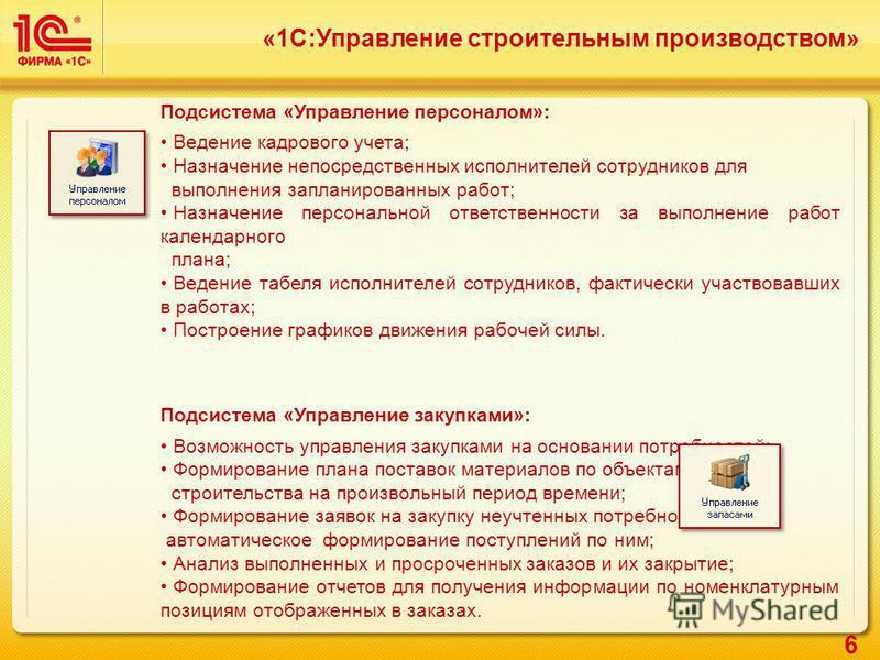 6 «1С:Управление строительным производством» Подсистема «Управление персоналом»: Ведение кадрового учета; Назначение непосредственных исполнителей сотрудников для выполнения запланированных работ; Назначение персональной ответственности за выполнение