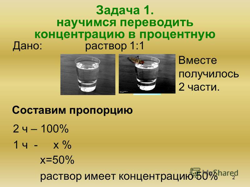 Задача 1. научимся переводить концентрацию в процентную 2 Дано: раствор 1:1 Составим пропорцию Вместе получилось 2 части. 2 ч – 100% 1 ч - х % х=50% раствор имеет концентрацию 50%