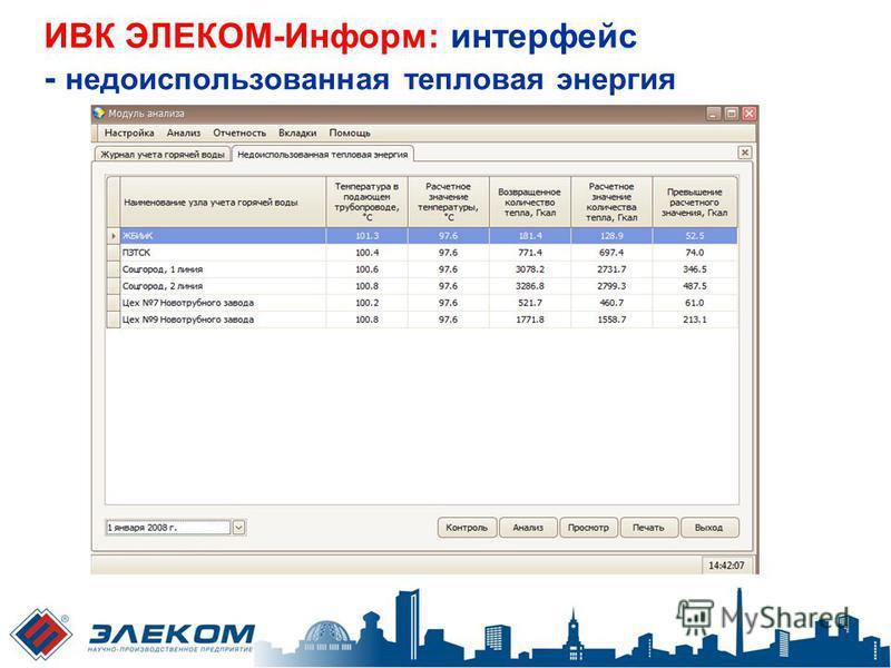 ИВК ЭЛЕКОМ-Информ: интерфейс - недоиспользованная тепловая энергия
