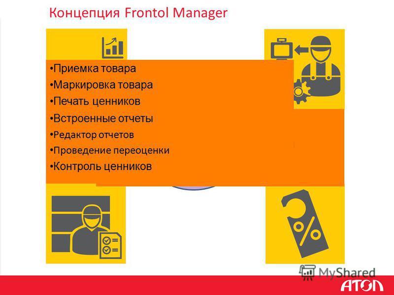 Концепция Frontol Manager Централизованное администрирование Мониторинг Консолидация данных с POS Централизованный обмен с back-officeом Управление дисконтными системами Управление бонусными системами Приемка товара Маркировка товара Печать ценников
