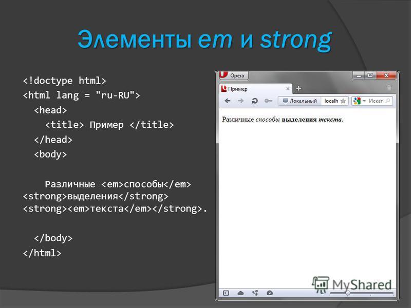 Элементы em и strong Пример Различные способы выделения текста.