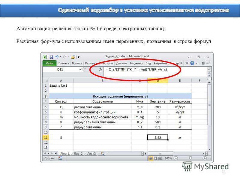 11 Автоматизация решения задачи 1 в среде электронных таблиц. Расчётная формула с использованием имен переменных, показанная в строке формул
