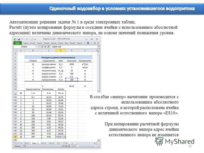 23 Автоматизация решения задачи 1 в среде электронных таблиц. Расчёт (путем копирования формулы в соседние ячейки c использованием абсолютной адресации) величины динамического напора, на основе значений понижения уровня. В столбце «напор» вычитание п