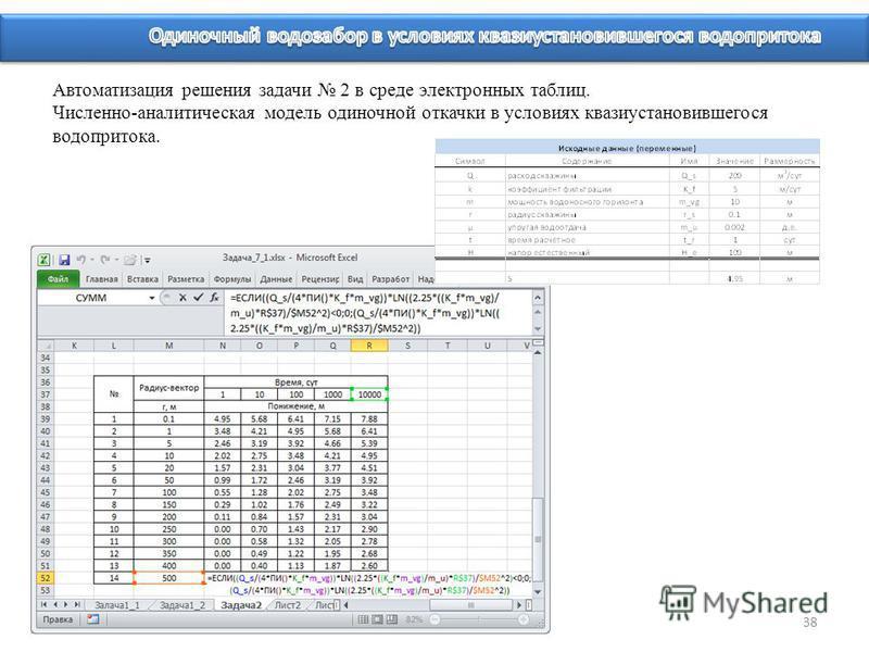38 Автоматизация решения задачи 2 в среде электронных таблиц. Численно-аналитическая модель одиночной откачки в условиях квазиустановившегося водопритока.