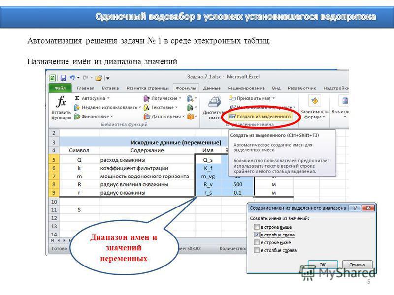 5 Диапазон имен и значений переменных Автоматизация решения задачи 1 в среде электронных таблиц. Назначение имён из диапазона значений