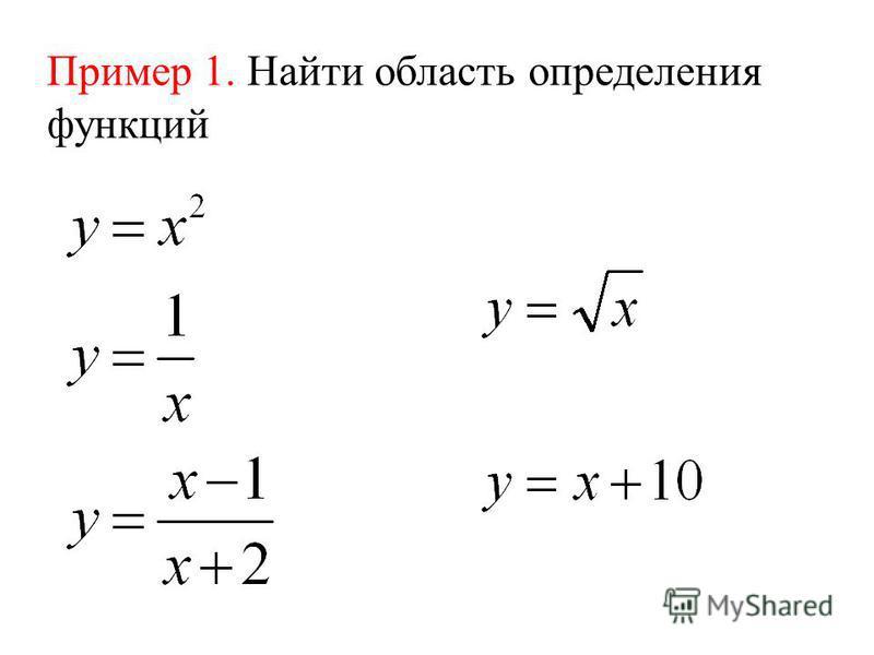 Пример 1. Найти область определения функций