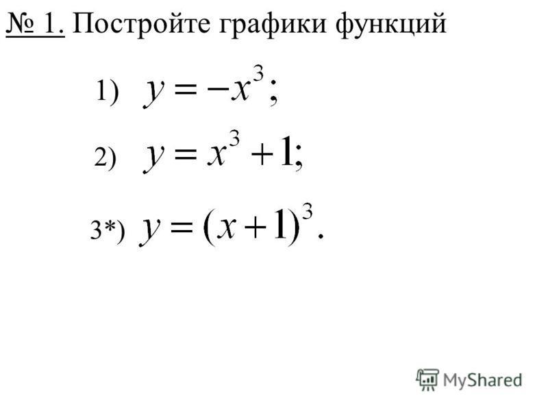 1. Постройте графики функций 1) 2) 3*)