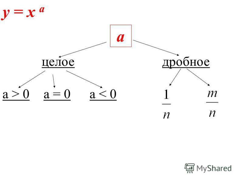 y = x а а целое дробное а > 0 а = 0 а < 0