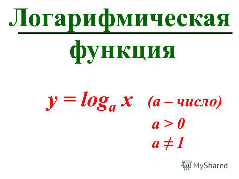 Логарифмическая функция y = log а х (а – число) а > 0 a 1
