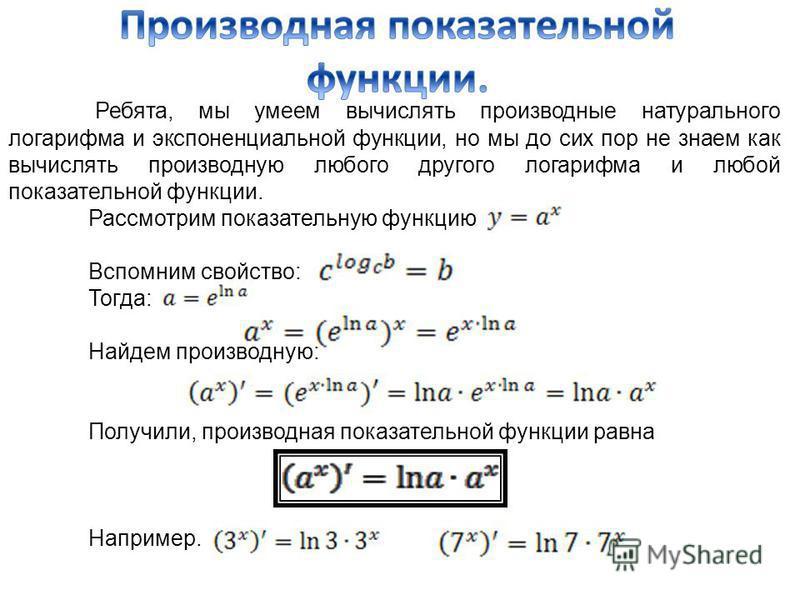 Ребята, мы умеем вычислять производные натурального логарифма и экспоненциальной функции, но мы до сих пор не знаем как вычислять производную любого другого логарифма и любой показательной функции. Рассмотрим показательную функцию Вспомним свойство: