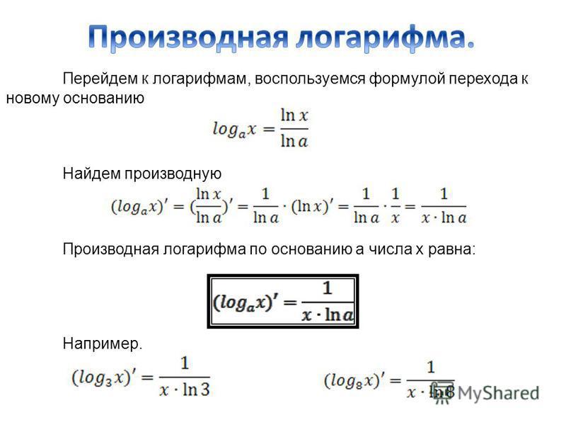 Перейдем к логарифмам, воспользуемся формулой перехода к новому основанию Найдем производную Производная логарифма по основанию а числа х равна: Например.