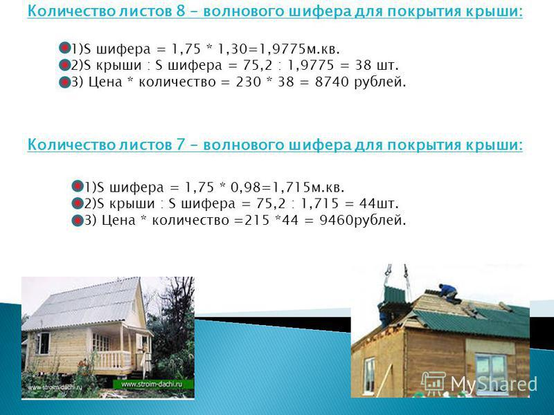 Количество листов 8 – волнового шифера для покрытия крыши: 1)S шифера = 1,75 * 1,30=1,9775 м.кв. 2)S крыши : S шифера = 75,2 : 1,9775 = 38 шт. 3) Цена * количество = 230 * 38 = 8740 рублей. Количество листов 7 – волнового шифера для покрытия крыши: 1