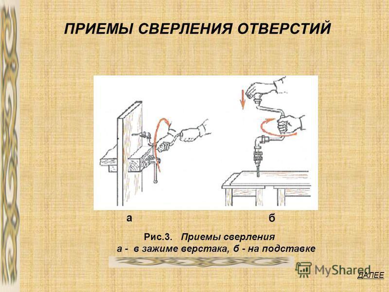 ДАЛЕЕ ПРИЕМЫ СВЕРЛЕНИЯ ОТВЕРСТИЙ Рис.3. Приемы сверления а - в зажиме верстака, б - на подставке а б