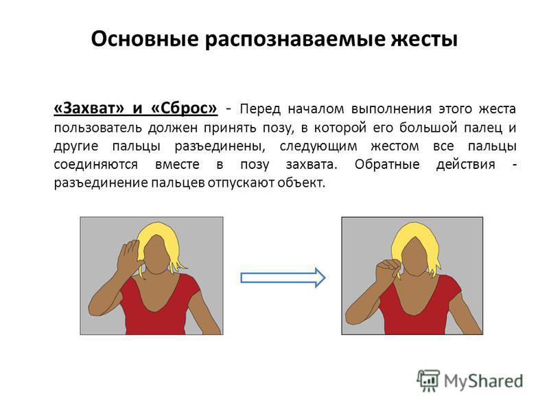 Основные распознаваемые жесты «Захват» и «Сброс» - Перед началом выполнения этого жеста пользователь должен принять позу, в которой его большой палец и другие пальцы разъединены, следующим жестом все пальцы соединяются вместе в позу захвата. Обратные