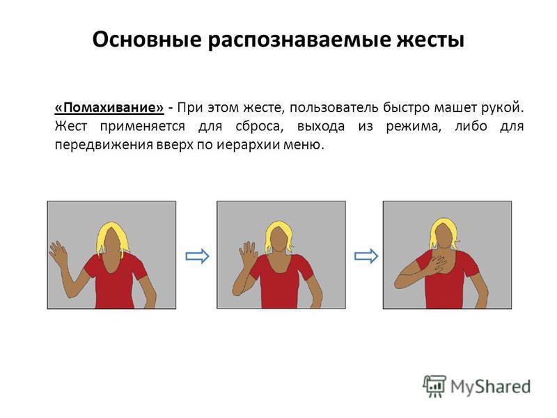 Основные распознаваемые жесты «Помахивание» - При этом жесте, пользователь быстро машет рукой. Жест применяется для сброса, выхода из режима, либо для передвижения вверх по иерархии меню.