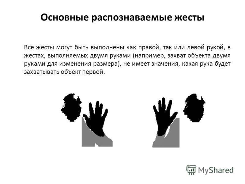 Основные распознаваемые жесты Все жесты могут быть выполнены как правой, так или левой рукой, в жестах, выполняемых двумя руками (например, захват объекта двумя руками для изменения размера), не имеет значения, какая рука будет захватывать объект пер