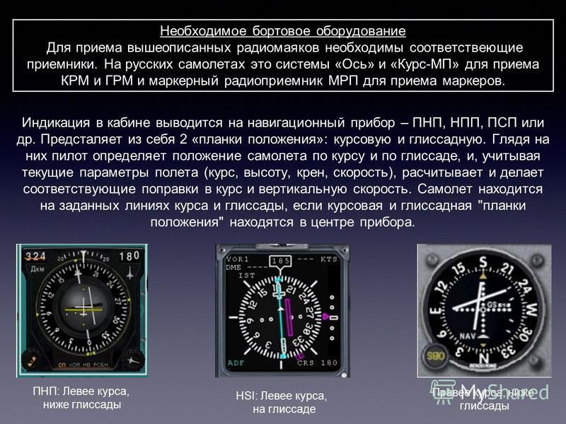 Необходимое бортовое оборудование Для приема вышеописанных радиомаяков необходимы соответствующие приемники. На русских самолетах это системы «Ось» и «Курс-МП» для приема КРМ и ГРМ и маркерный радиоприемник МРП для приема маркеров. ПНП: Левее курса,