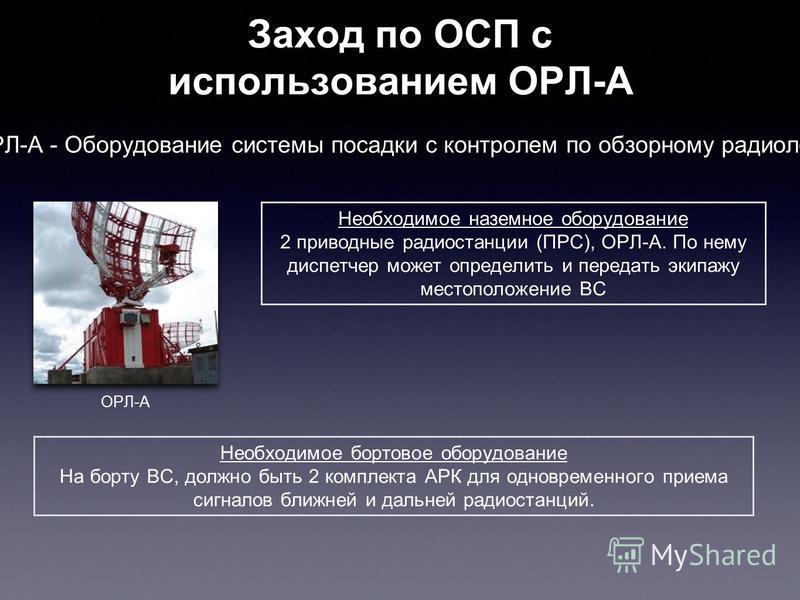 Заход по ОСП с использованием ОРЛ-А Необходимое наземное оборудование 2 приводные радиостанции (ПРС), ОРЛ-А. По нему диспетчер может определить и передать экипажу местоположение ВС ОРЛ-А Необходимое бортовое оборудование На борту ВС, должно быть 2 ко