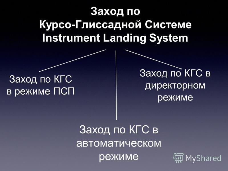 Заход по Курсо-Глиссадной Системе Instrument Landing System Заход по КГС в режиме ПСП Заход по КГС в директорном режиме Заход по КГС в автоматическом режиме