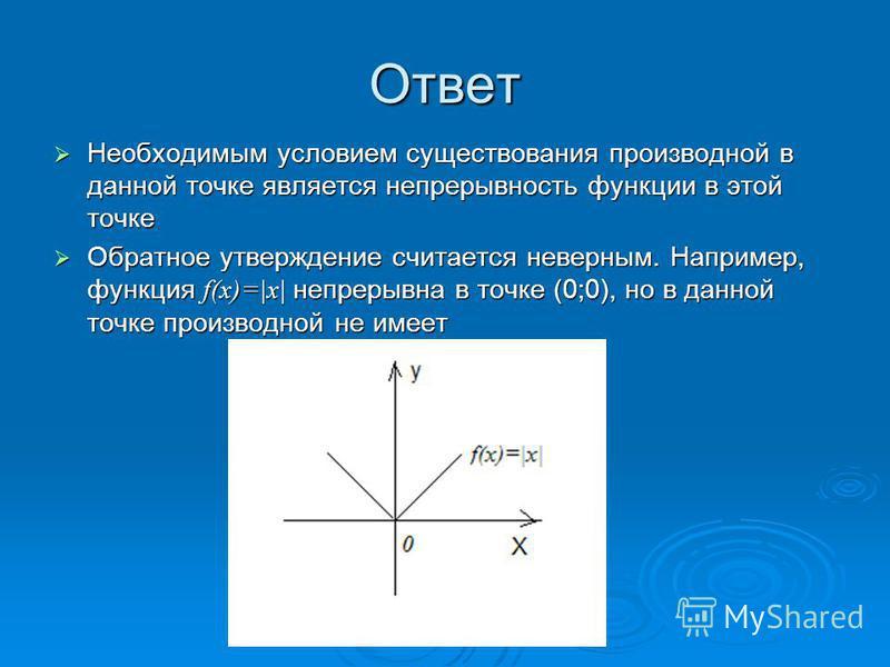 Ответ Необходимым условием существования производной в данной точке является непрерывность функции в этой точке Необходимым условием существования производной в данной точке является непрерывность функции в этой точке Обратное утверждение считается н