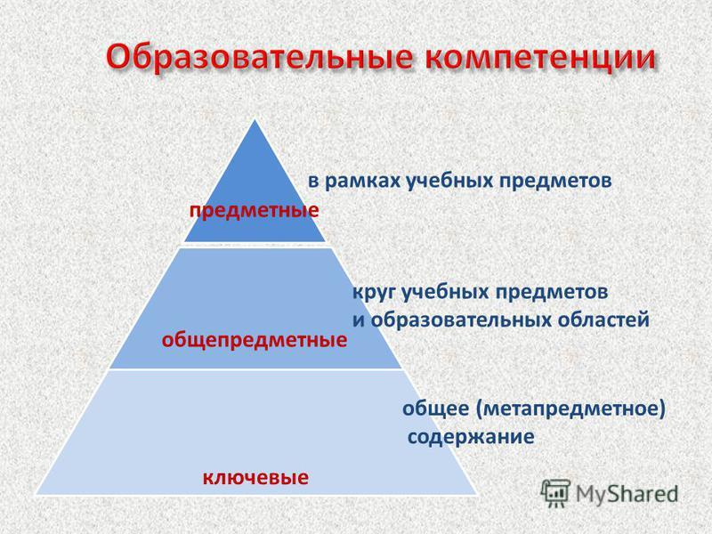 предметные общепредметные ключевые общее (метапредметное) содержание круг учебных предметов и образовательных областей в рамках учебных предметов