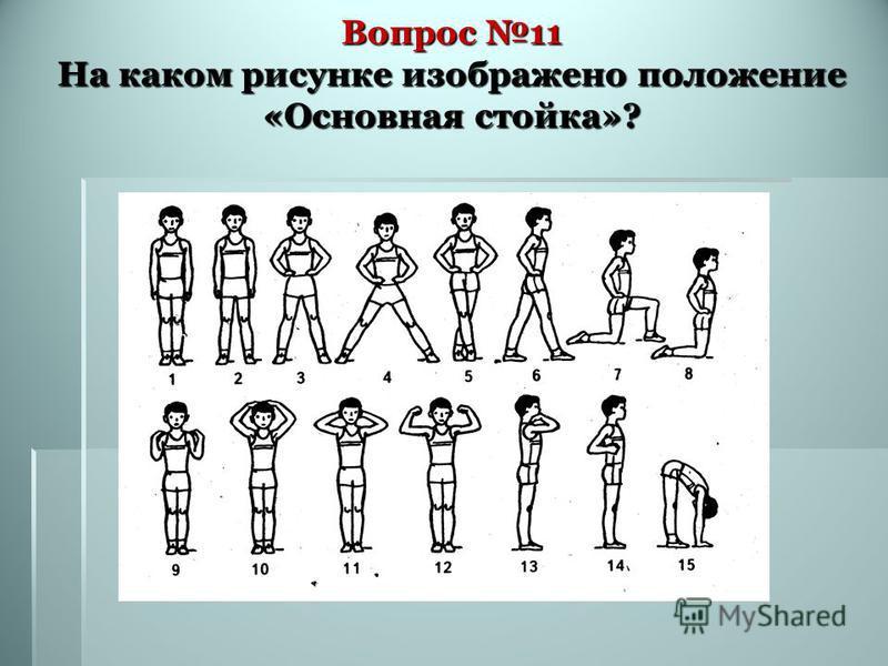 Вопрос 11 На каком рисунке изображено положение «Основная стойка»?
