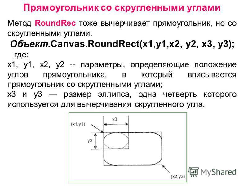 Прямоугольник со скругленными углами Метод RoundRec тоже вычерчивает прямоугольник, но со скругленными углами. Объект.Canvas.RoundRect(x1,y1,х 2, у 2, х 3, у 3); где: x1, y1, х 2, у 2 -- параметры, определяющие положение углов прямоугольника, в котор