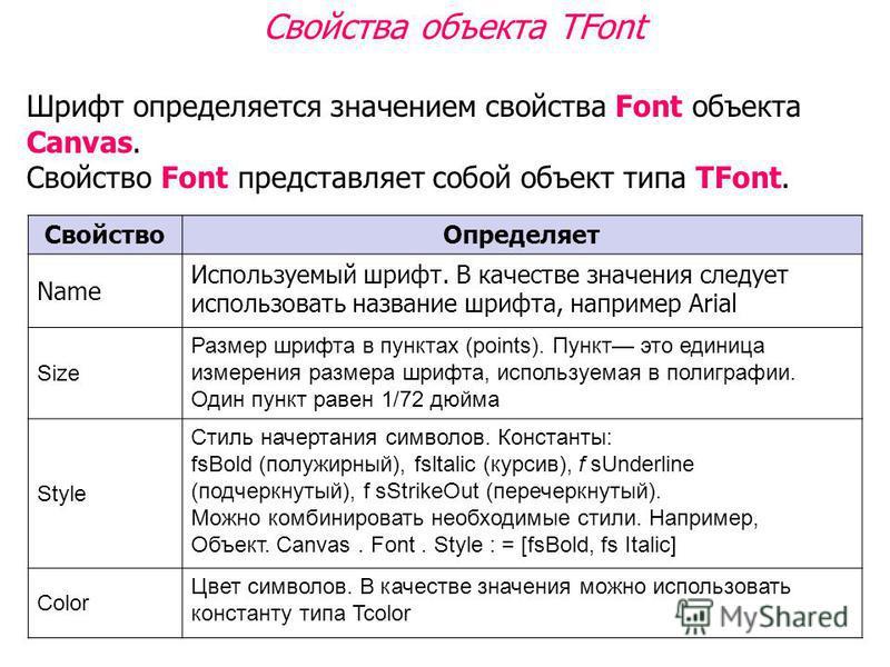 Свойства объекта TFont Шрифт определяется значением свойства Font объекта Canvas. Свойство Font представляет собой объект типа TFont. Свойство Определяет Name Используемый шрифт. В качестве значения следует использовать название шрифта, например Aria
