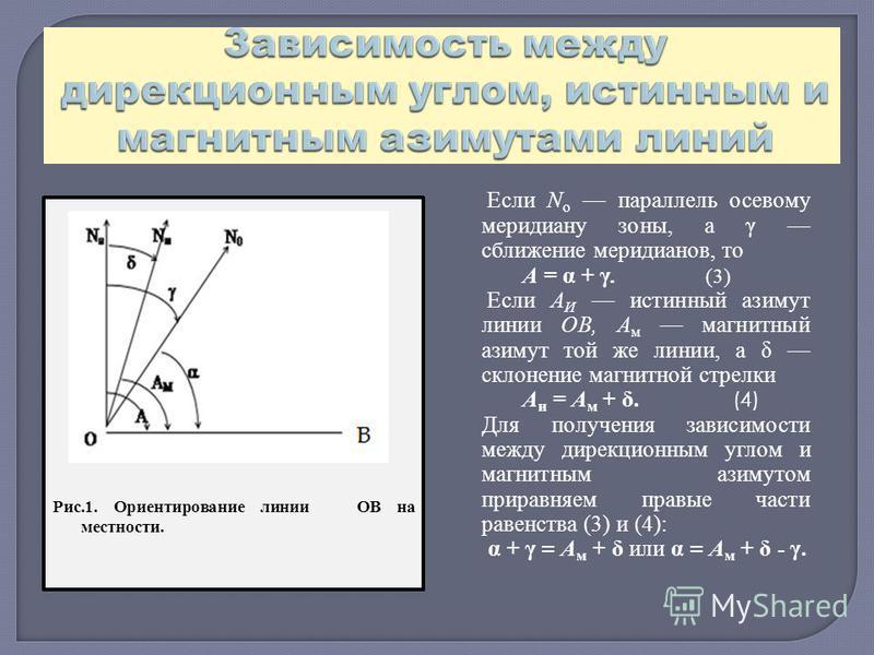 Если N о параллель осевому меридиану зоны, а γ сближение меридианов, то А = α + γ. (3) Если А И истинный азимут линии ОВ, А м магнитный азимут той же линии, а δ склонение магнитной стрелки А и = А м + δ. (4) Для получения зависимости между дирекционн