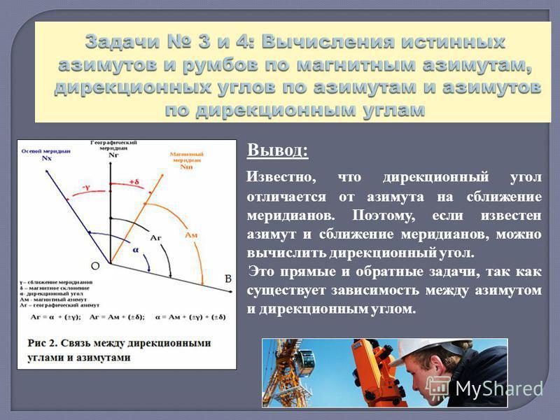 Вывод: Известно, что дирекционный угол отличается от азимута на сближение меридианов. Поэтому, если известен азимут и сближение меридианов, можно вычислить дирекционный угол. Это прямые и обратные задачи, так как существует зависимость между азимутом
