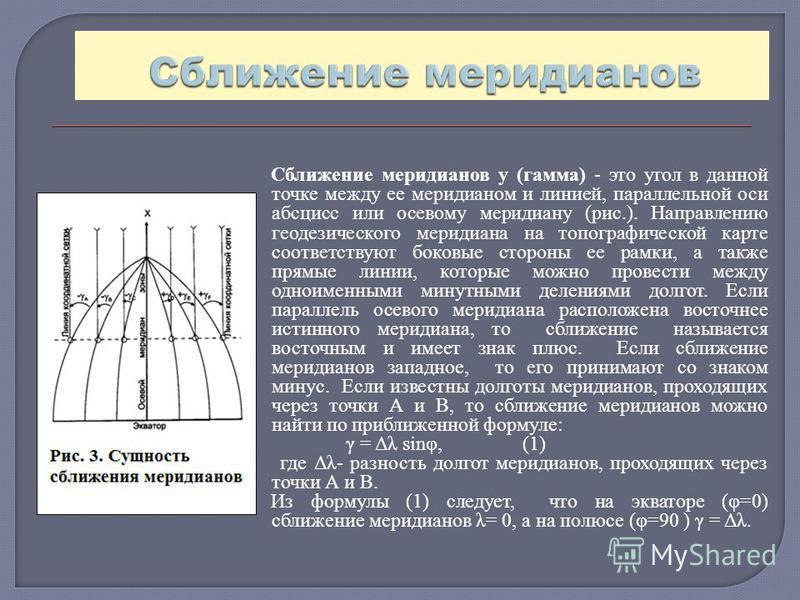 Сближение меридианов у (гамма) - это угол в данной точке между ее меридианом и линией, параллельной оси абсцисс или осевому меридиану (рис.). Направлению геодезического меридиана на топографической карте соответствуют боковые стороны ее рамки, а такж