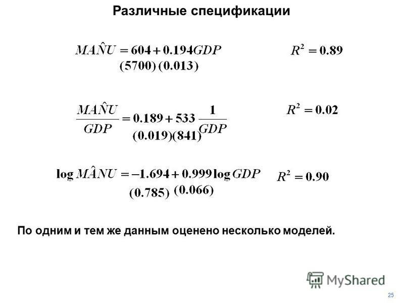 25 Различные спецификации По одним и тем же данным оценено несколько моделей.