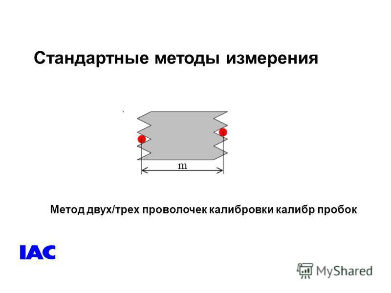 Стандартные методы измерения Метод двух/трех проволочек калибровки калибр пробок