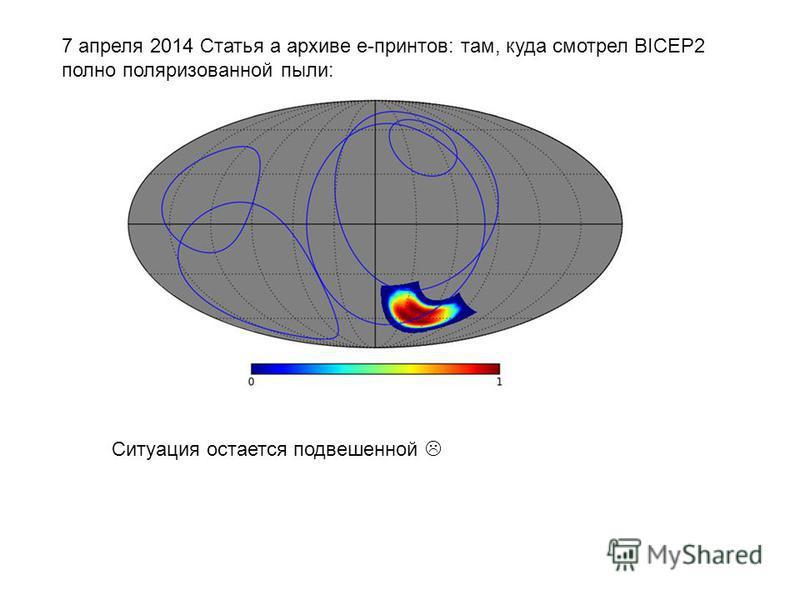7 апреля 2014 Статья а архиве е-принтов: там, куда смотрел BICEP2 полно поляризованной пыли: Ситуация остается подвешенной