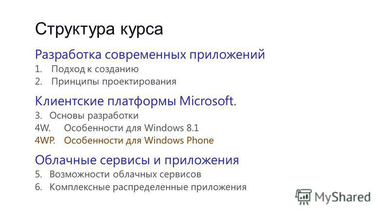 Структура курса Разработка современных приложений 1. Подход к созданию 2. Принципы проектирования Клиентские платформы Microsoft. 3. Основы разработки 4W.Особенности для Windows 8.1 4WP.Особенности для Windows Phone Облачные сервисы и приложения 5. В