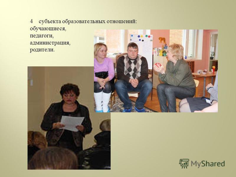4 субъекта образовательных отношений: обучающиеся, педагоги, администрация, родители.
