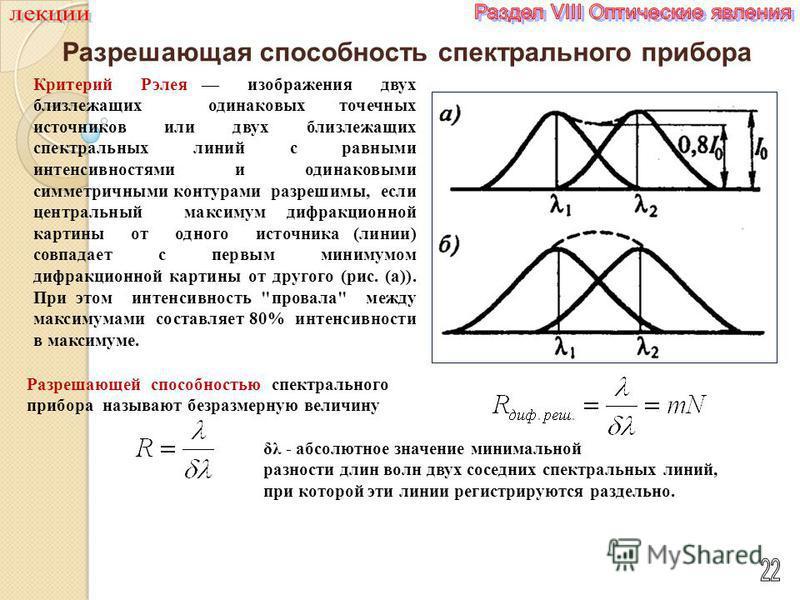 Разрешающая способность спектрального прибора Критерий Рэлея изображения двух близлежащих одинаковых точечных источников или двух близлежащих спектральных линий с равными интенсивностями и одинаковыми симметричными контурами разрешимы, если центральн