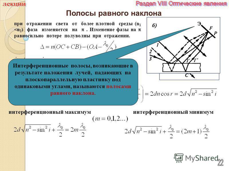 Полосы равного наклона при отражении света от более плотной среды (n 1
